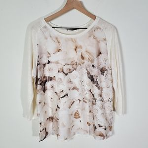 Zara Cream Floral Long Sleeve Top Large